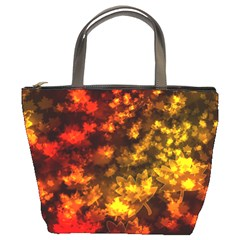 Fall Leaves In Bokeh Lights Bucket Bag by bloomingvinedesign