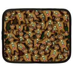 Gingerbread Cookie Collage Netbook Case (large) by bloomingvinedesign