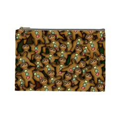 Gingerbread Cookie Collage Cosmetic Bag (large) by bloomingvinedesign
