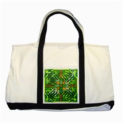 Green Celtic Knot Square Two Tone Tote Bag by bloomingvinedesign