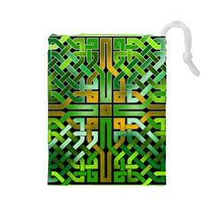 Green Celtic Knot Square Drawstring Pouch (large) by bloomingvinedesign