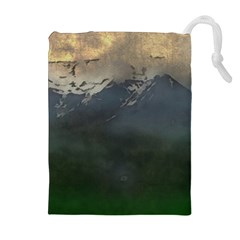 Mountains Near West Drawstring Pouch (xl) by bloomingvinedesign