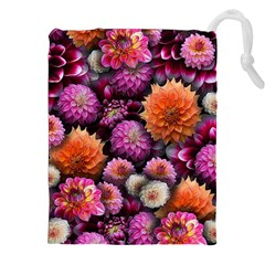 Pink And Orange Dahlias Collage Drawstring Pouch (xxl) by bloomingvinedesign