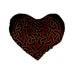 Beautiful Art Pattern Standard 16  Premium Flano Heart Shape Cushions