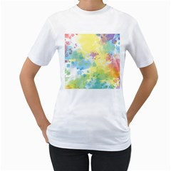 Abstract Pattern Color Art Texture Women s T Shirt (white) (two Sided)