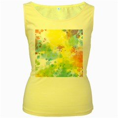 Abstract Pattern Color Art Texture Women s Yellow Tank Top