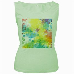 Abstract Pattern Color Art Texture Women s Green Tank Top