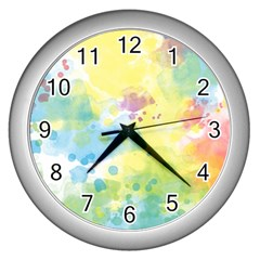 Abstract Pattern Color Art Texture Wall Clock (silver)