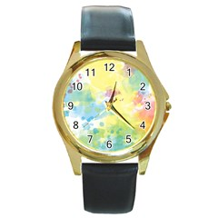 Abstract Pattern Color Art Texture Round Gold Metal Watch