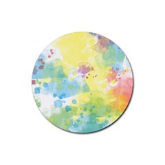 Abstract Pattern Color Art Texture Rubber Round Coaster (4 Pack)