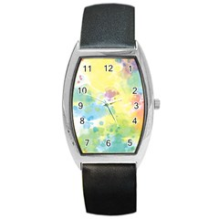 Abstract Pattern Color Art Texture Barrel Style Metal Watch