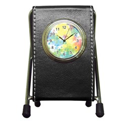 Abstract Pattern Color Art Texture Pen Holder Desk Clock