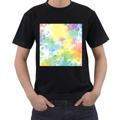 Abstract Pattern Color Art Texture Men s T Shirt (black) (two Sided)