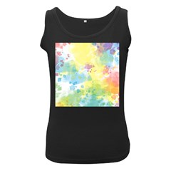 Abstract Pattern Color Art Texture Women s Black Tank Top