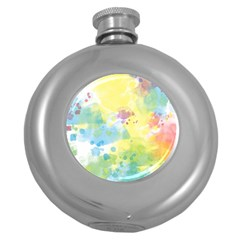 Abstract Pattern Color Art Texture Round Hip Flask (5 Oz)