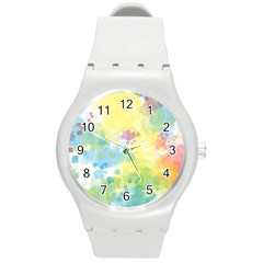 Abstract Pattern Color Art Texture Round Plastic Sport Watch (m)