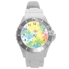Abstract Pattern Color Art Texture Round Plastic Sport Watch (l)