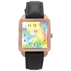 Abstract Pattern Color Art Texture Rose Gold Leather Watch