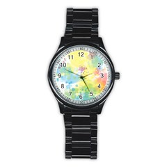 Abstract Pattern Color Art Texture Stainless Steel Round Watch