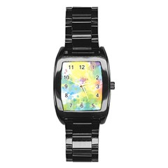 Abstract Pattern Color Art Texture Stainless Steel Barrel Watch