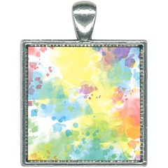 Abstract Pattern Color Art Texture Square Necklace