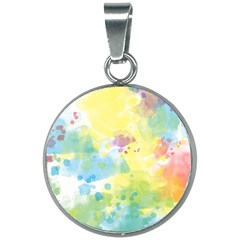 Abstract Pattern Color Art Texture 20mm Round Necklace