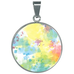 Abstract Pattern Color Art Texture 30mm Round Necklace