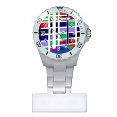 Color Graffiti Pattern Geometric Plastic Nurses Watch by Nexatart