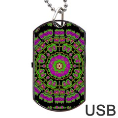 Flowers And More Floral Dancing A Happy Dance Dog Tag Usb Flash (one Side) by pepitasart
