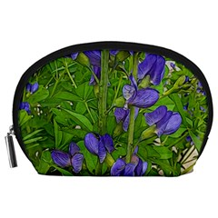 Purple Flowers Long Stems Accessory Pouch (large) by bloomingvinedesign