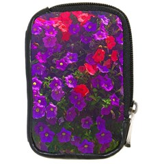 Purple Petunias Compact Camera Leather Case by bloomingvinedesign