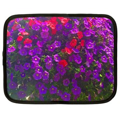 Purple Petunias Netbook Case (xl) by bloomingvinedesign