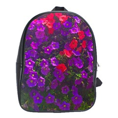 Purple Petunias School Bag (xl) by bloomingvinedesign