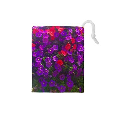 Purple Petunias Drawstring Pouch (small) by bloomingvinedesign