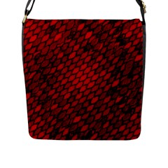 Red Dragon Scales Flap Closure Messenger Bag (l) by bloomingvinedesign