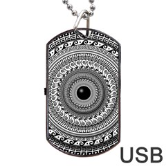 Graphic Design Round Geometric Dog Tag Usb Flash (two Sides) by Nexatart