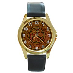 Beautiful Art Pattern Round Gold Metal Watch by Nexatart