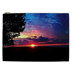 Sunrise Lakeshore Cosmetic Bag (xxl) by bloomingvinedesign