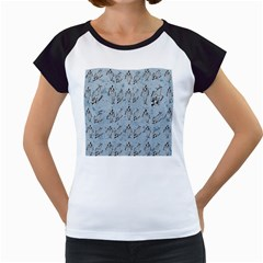 Skeleton Blue Background Women s Cap Sleeve T