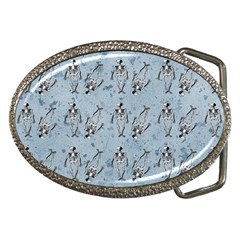 Skeleton Blue Background Belt Buckles