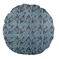 Skeleton Blue Background Large 18  Premium Flano Round Cushions