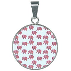 Pink Flower Elephant 25mm Round Necklace by snowwhitegirl