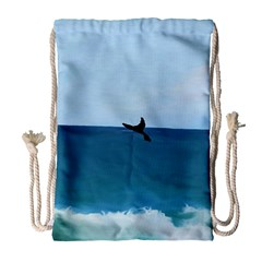 Whales Tail Drawstring Bag (large) by bloomingvinedesign