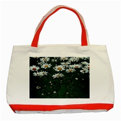 White Daisy Field Classic Tote Bag (red) by bloomingvinedesign