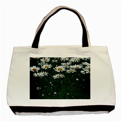 White Daisy Field Basic Tote Bag (two Sides) by bloomingvinedesign