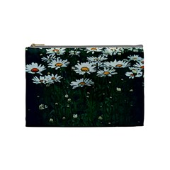White Daisy Field Cosmetic Bag (medium) by bloomingvinedesign