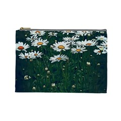 White Daisy Field Cosmetic Bag (large) by bloomingvinedesign