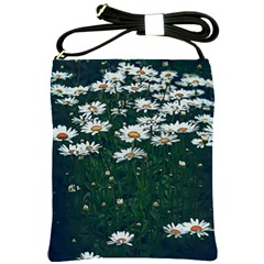 White Daisy Field Shoulder Sling Bag by bloomingvinedesign