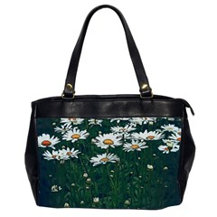 White Daisy Field Oversize Office Handbag (2 Sides) by bloomingvinedesign