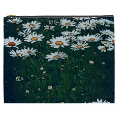 White Daisy Field Cosmetic Bag (xxxl) by bloomingvinedesign